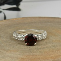 Natural Red Garnet Gemstone 92.5 Sterling Silver Engagement Solitaire Rings - $23.00