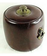 Vintage Ice Bucket Oakridge Country Club Faux Leather Brown Rare 1977 El... - $34.65