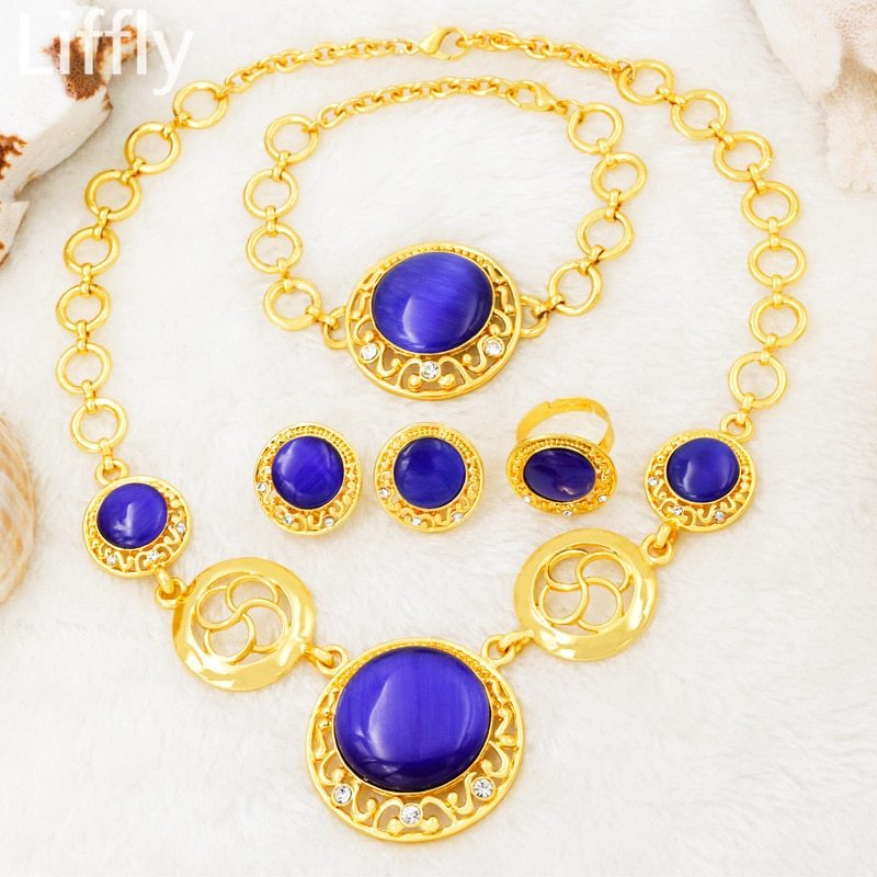 2019 Creative Luxury 24 Gold Jewelry Sets Crystal Necklace Ring Earring Charm Br