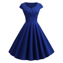 Sweetheart Neck Vintage Fit and Flare Dress(COBALT BLUE XL) - $15.56