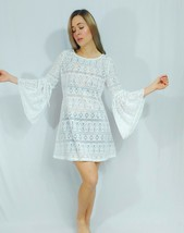 Free People Beach White Erica Mini Bell Sleeve Crochet Lace Shift Shirt Dress S - $42.08