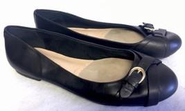 Bella Vita 50-2661 TYRA Women's Black Leather BALLET FLATS Size 8 Buckle - $19.99