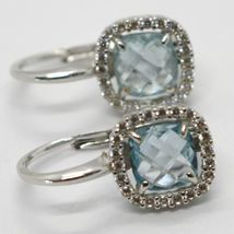 18K WHITE GOLD LEVERBACK EARRINGS CUSHION BLUE TOPAZ, ZIRCONIA FRAME, ITALY MADE image 6