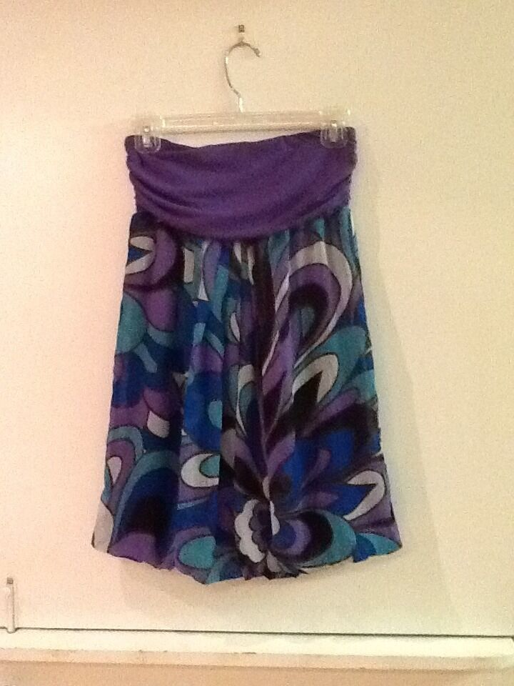 FOREVER 21 strapless Tunic TOP SIZE S PURPLE~Geometric - $12.95