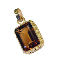 grand Citrine CZ Gold Plated Yellow Pendant Glass exporter US - $5.63