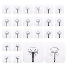 Mocy Adhesive Hooks Wall Hooks, 24 Pack Clear Hooks Strong Sticky Plastic Rotati image 2