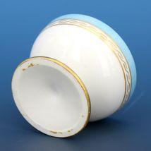 Vintage Open Salt Dip Cellar Footed Old Paris Porcelain French Blue image 3