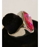 Silvertone Pink Faceted Rhinestone Ring Fun Fashion Costume Jewelry - 6 - $8.99