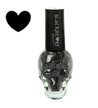 Blackheart Beauty BLACK SPARKLE w/ Silver Glitter Nail Polish Skull Hear... - $7.99
