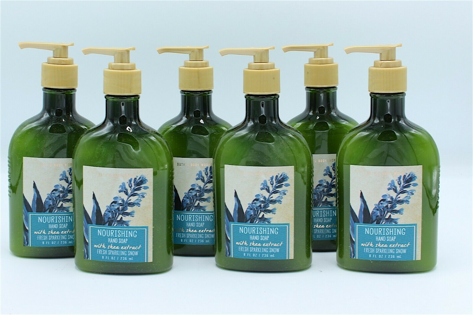 x6 Bath & Body Works Fresh Sparkling Snow Nourishing Hand Soap with Shea Extract