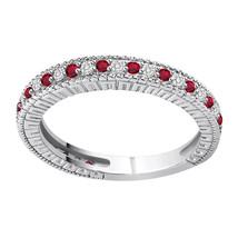 0.24 Ct Real Diamond 10K White Gold Milgrain Half Eternity Wedding Band ... - €202,07 EUR