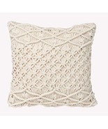 Decorative Pillows Macrame Boho Throw Pillows Handmade Knit Pillowcases ... - £20.88 GBP