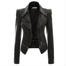 Womens Punk Fashion Zip Slim Fit PU Leather Motorcycle Jacket Coat Outer... - $34.23+
