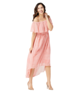 H by Halston Petite 18 Convertible Pleated Hi-Low Hem Maxi Dress Peach P... - $50.31