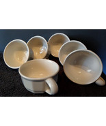 "Set of 6 Vintage Pfaltzgraff Heritage White Coffee/Soup Mugs 4"" wide Cup... - $11.50"