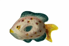 """Ceramic Colorful Fish Dish Red, Yellow, Blue Made In Portugal Art Deco 10"""" - $29.69"""