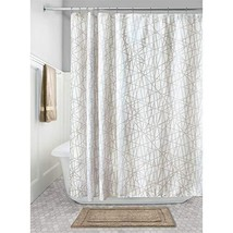 "InterDesign Abstract Fabric Shower Curtain, 72"" x 72"", Stone/White - $16.73"