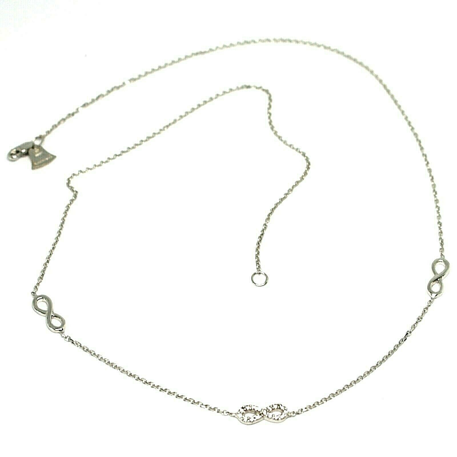 Necklace White Gold 18k 750, Chain Rolo ' , Symbols Infinity, Zircon Cubic