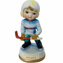 Birthday Gift porcelain figurine vtg sculpture Japan 1960s January Hocke... - $19.30