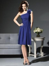 Dessy 2803...Cocktail length, One shoulder, Chiffon Dress....Sailor....S... - $49.49