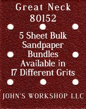 Great Neck 80152 - 1/4 Sheet - 17 Grits - No-Slip - 5 Sandpaper Bulk Bun... - $7.14