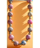 Vintage Pastel Jewel Toned Bead Necklace - $7.00