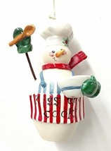Kiss the Cook Porcelain Snowman Ornament - $17.50