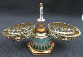 Vintage heavy enameled painted metal music box egg on pedestal with lily... - $50.00