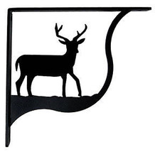"Wall Shelf Bracket Pair Of 2 Deer Pattern Wrought Iron 7.25"" L Crafting ... - $43.99"