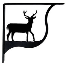 "Wall Shelf Bracket Pair Of 2 Deer Pattern Wrought Iron 9.25"" L Crafting ... - $49.99"