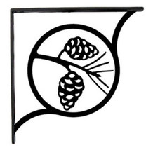 "Wall Shelf Bracket Pair Of 2 Pinecone Pattern Wrought Iron 7.25"" L Crafting - $43.99"