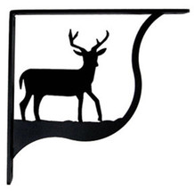 "Wall Shelf Bracket Pair Of 2 Deer Pattern Wrought Iron 5.25"" L Crafting ... - $37.99"