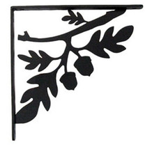 "Wall Shelf Bracket Pair Of 2 Oak Leaf & Acorn Wrought Iron 5.25"" L Crafting - $37.99"