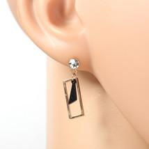 Rose Tone Designer Earrings, Swarovski Style Crystals & Black Dangling Accent - $16.99