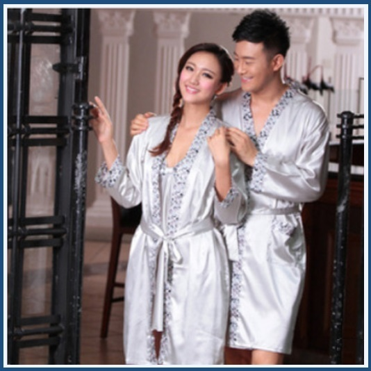 His or Hers Lover's Silver Satin Leisure Lounge Silk Bath Robes with Sash Belts