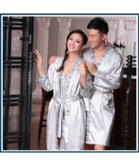 His or Hers Lover's Silver Satin Leisure Lounge Silk Bath Robes with Sas... - $96.95