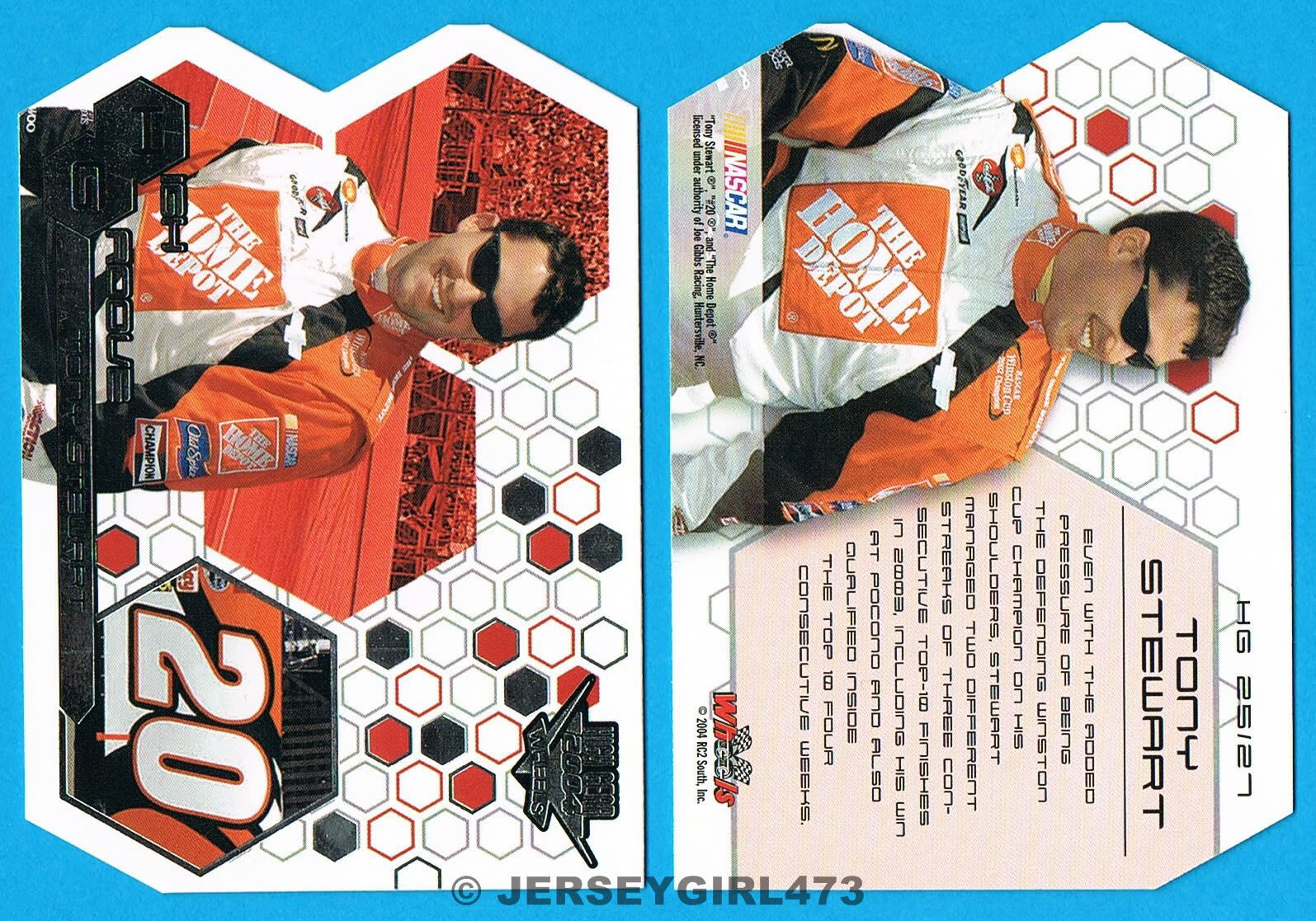 Tony Stewart 2004 Wheels High Groove DieCut NASCAR Racing Insert Card #HG 25/27