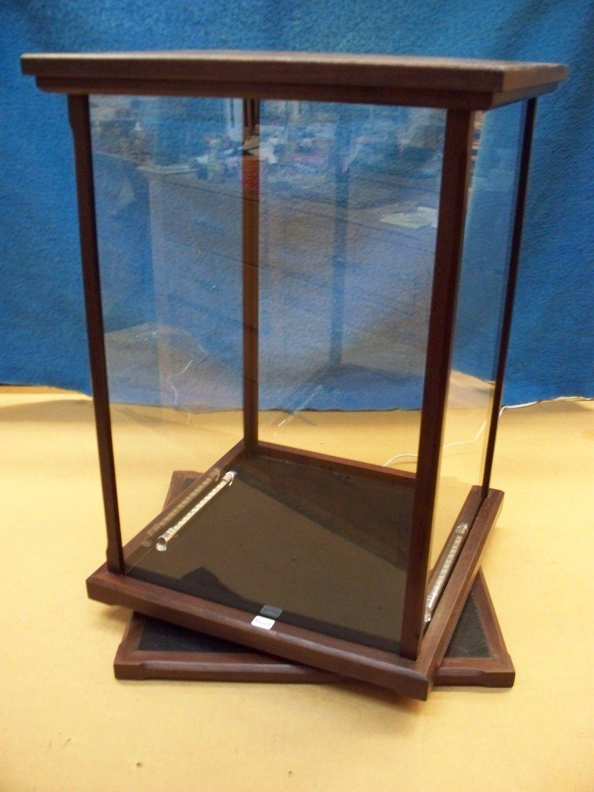 display case curio doll wood glass peruvian walnut. Black Bedroom Furniture Sets. Home Design Ideas