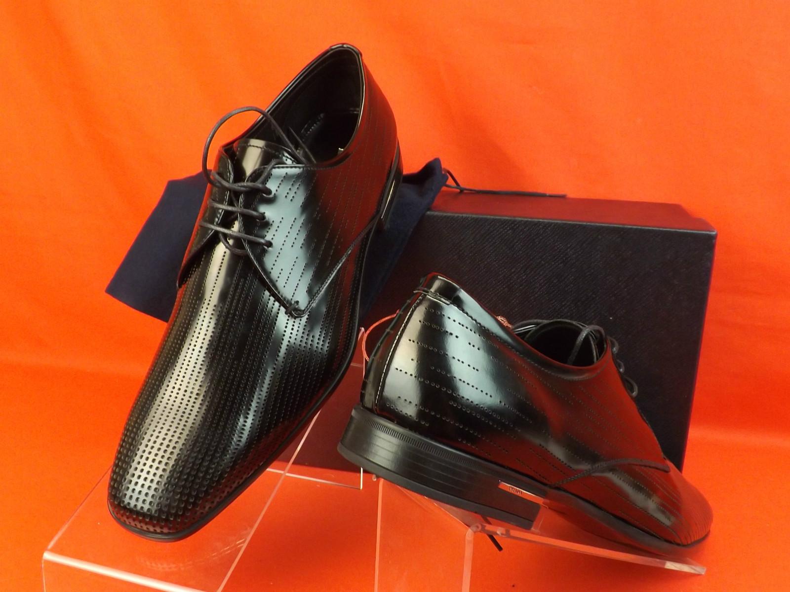 $620 PRADA MILANO UOMO BLACK PERFORATED LEATHER BLUCHER DRESS OXFORDS SHOES *NEW