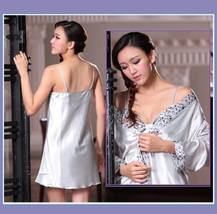 His or Hers Lover's Silver Satin Leisure Lounge Silk Bath Robes with Sash Belts image 2