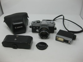 Canon FTb QL 35mm SLR Film Camera w/ CANON FD 50mm f/1.8 S.C. LENS - $63.35