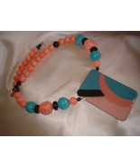 Vintage Chunky Aqua & Pink Necklace - $12.00