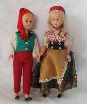 Vintage 1950s-60s Blinking Eyes Dolls Set of 2 Dolls Around World Denmar... - $17.99