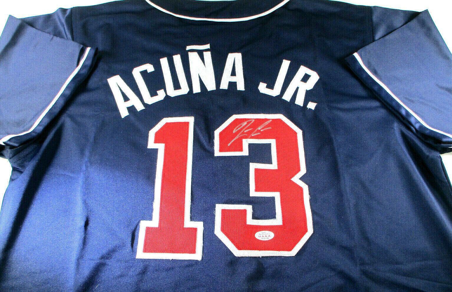 RONALD ACUNA JR / AUTOGRAPHED ATLANTA BRAVES BLUE CUSTOM BASEBALL JERSEY / COA