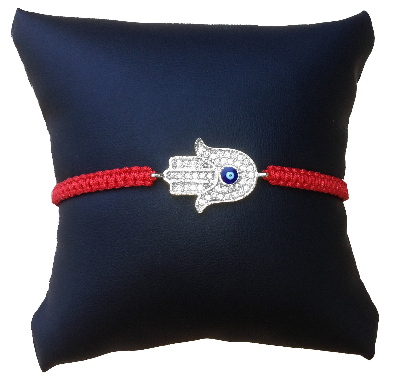 Primary image for Hamsa Hand with Evil Eye Braided Bracelet, Red Cord and Silver Plated