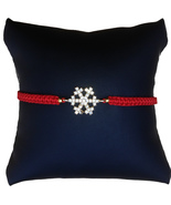 Snowflake Braided Bracelet, Red Cord - $12.99
