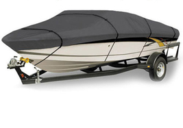 New WATERPROOF BOAT COVER V-HULL FISHING BOAT 14' 15' 16' FT GRAY STORAG... - $83.99