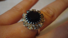 Sarah Coventry, Silver Large Black Oynx Stone Ring - Vintage Jewelry - $39.99