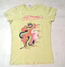 ED HARDY by Christian Audiger Snake Girl Medusa Yellow SS Shirt S USA - $24.45