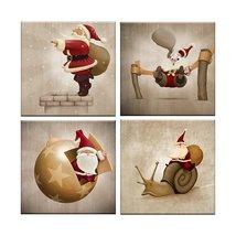 Framed 4 Piece Christmas Santa Claus Wall Art Print Poster Home Decor Pa... - $49.90